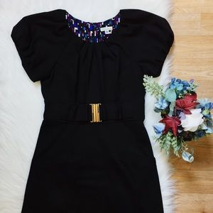 Shoshanna Black Short Sleeve Dress Gold Buckle 8